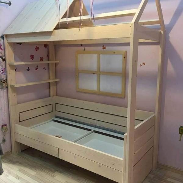 Κρεβάτι Παιδικό με Οικολογικά Βερνίκια Νερού σε χρώμα Πούδρας